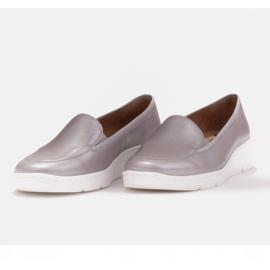 Radoskór Wygodne srebrne półbuty damskie na szerszą stopę srebrny 5