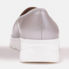 Radoskór Wygodne srebrne półbuty damskie na szerszą stopę srebrny 3