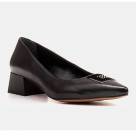Marco Shoes Czarne czółenka na niskim obcasie, ozdoba z jetami 2