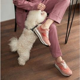 Marco Shoes Sneakersy na grubej podeszwie z siateczką oddychającą różowe 1