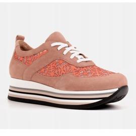 Marco Shoes Sneakersy na grubej podeszwie z siateczką oddychającą różowe 2