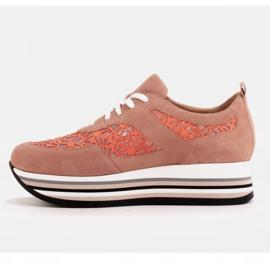 Marco Shoes Sneakersy na grubej podeszwie z siateczką oddychającą różowe 4