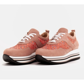 Marco Shoes Sneakersy na grubej podeszwie z siateczką oddychającą różowe 6