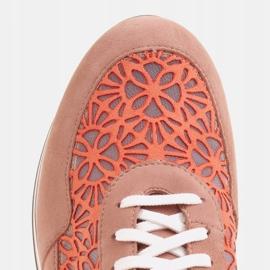 Marco Shoes Sneakersy na grubej podeszwie z siateczką oddychającą różowe 9