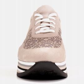 Marco Shoes Sneakersy na grubej podeszwie z siateczką oddychającą beżowy 2