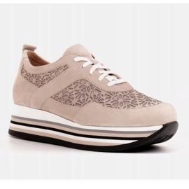 Marco Shoes Sneakersy na grubej podeszwie z siateczką oddychającą beżowy 3