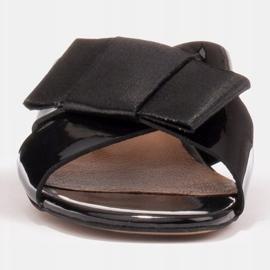 Marco Shoes Eleganckie klapki damskie ze wstążką czarne 2