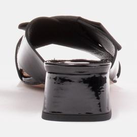 Marco Shoes Eleganckie klapki damskie ze wstążką czarne 4