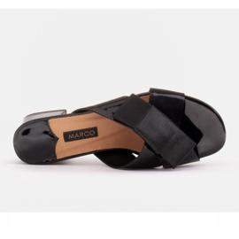 Marco Shoes Eleganckie klapki damskie ze wstążką czarne 7