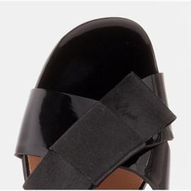 Marco Shoes Eleganckie klapki damskie ze wstążką czarne 8