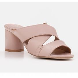 Marco Shoes Skórzane klapki damskie ze skóry w pocięte pasy beżowy 1