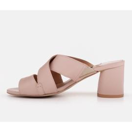 Marco Shoes Skórzane klapki damskie ze skóry w pocięte pasy beżowy 2