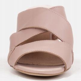 Marco Shoes Skórzane klapki damskie ze skóry w pocięte pasy beżowy 3