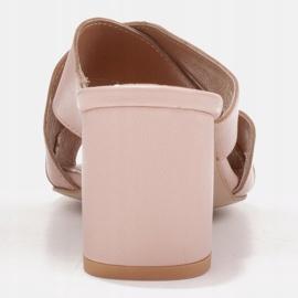 Marco Shoes Skórzane klapki damskie ze skóry w pocięte pasy beżowy 4