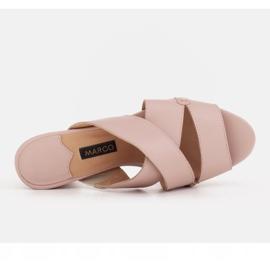 Marco Shoes Skórzane klapki damskie ze skóry w pocięte pasy beżowy 6
