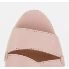 Marco Shoes Skórzane klapki damskie ze skóry w pocięte pasy beżowy 8