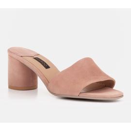 Marco Shoes Klapki damskie Marco z zamszu naturalnego różowe 3