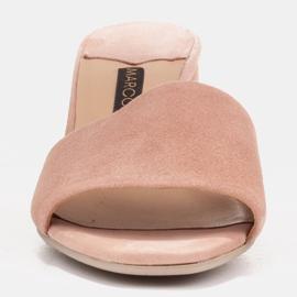 Marco Shoes Klapki damskie Marco z zamszu naturalnego różowe 4