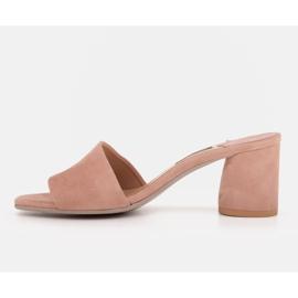 Marco Shoes Klapki damskie Marco z zamszu naturalnego różowe 6