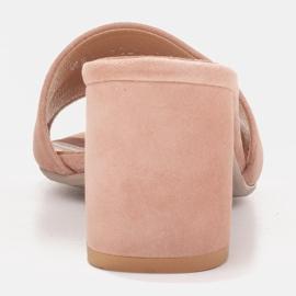 Marco Shoes Klapki damskie Marco z zamszu naturalnego różowe 5