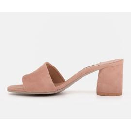 Marco Shoes Klapki damskie Marco z zamszu naturalnego różowe 7