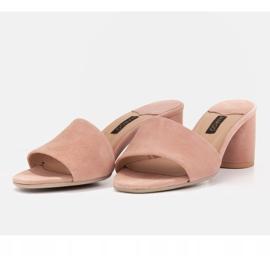 Marco Shoes Klapki damskie Marco z zamszu naturalnego różowe 8