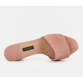 Marco Shoes Klapki damskie Marco z zamszu naturalnego różowe 9