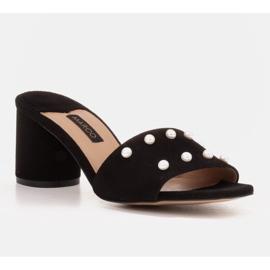 Marco Shoes Klapki damskie Marco z zamszu naturalnego czarne 1