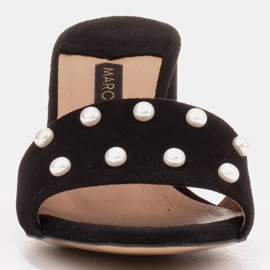 Marco Shoes Klapki damskie Marco z zamszu naturalnego czarne 2