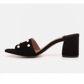 Marco Shoes Klapki damskie Marco z zamszu naturalnego czarne 3