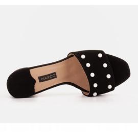 Marco Shoes Klapki damskie Marco z zamszu naturalnego czarne 6