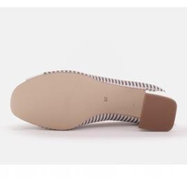 Marco Shoes Czółenka damskie w metaliczne paski z otwartym przodem białe srebrny 7