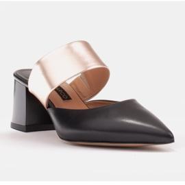 Marco Shoes Eleganckie czółenka damskie na lato czarne złoty 4