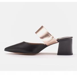 Marco Shoes Eleganckie czółenka damskie na lato czarne złoty 2