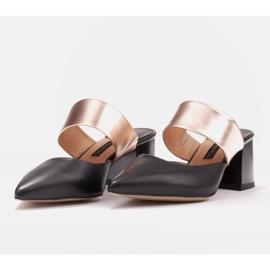 Marco Shoes Eleganckie czółenka damskie na lato czarne złoty 5