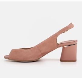 Marco Shoes Eleganckie sandały damskie z metalicznym akcentem różowe 4