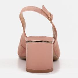 Marco Shoes Eleganckie sandały damskie z metalicznym akcentem różowe 3