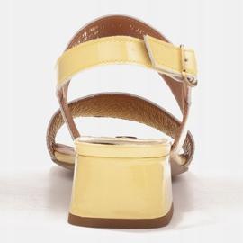 Marco Shoes Sandały Cinta z obcasem powlekanym skórą żółte 5