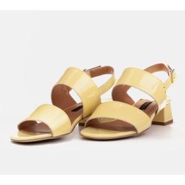 Marco Shoes Sandały Cinta z obcasem powlekanym skórą żółte 6