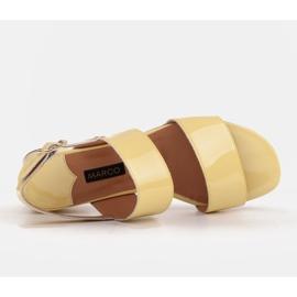 Marco Shoes Sandały Cinta z obcasem powlekanym skórą żółte 7