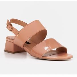 Marco Shoes Sandały Cinta z obcasem powlekanym skórą pomarańczowe 1