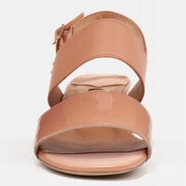 Marco Shoes Sandały Cinta z obcasem powlekanym skórą pomarańczowe 2
