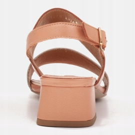 Marco Shoes Sandały Cinta z obcasem powlekanym skórą pomarańczowe 3