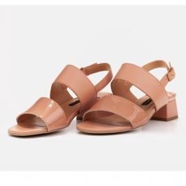 Marco Shoes Sandały Cinta z obcasem powlekanym skórą pomarańczowe 4