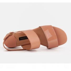 Marco Shoes Sandały Cinta z obcasem powlekanym skórą pomarańczowe 5