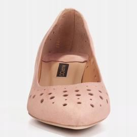 Marco Shoes Czółenka damskie z ciekawą perforacją różowe 3