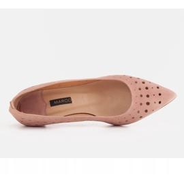 Marco Shoes Czółenka damskie z ciekawą perforacją różowe 7