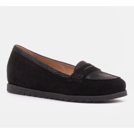 Marco Shoes Lekkie półbuty z bardzo miękkim spodem i ukrytym klinem czarne 1