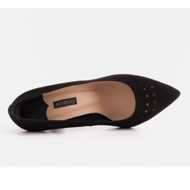 Marco Shoes Szpilki z naturalnego zamszu z ozdobną perforacją czarne 7