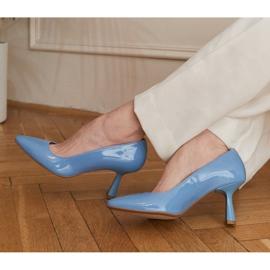 Marco Shoes Eleganckie czółenka z błękitnego lakieru niebieskie 1